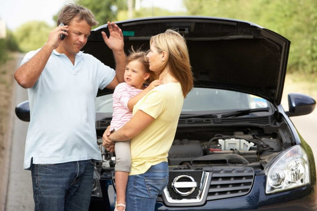 broken down car family